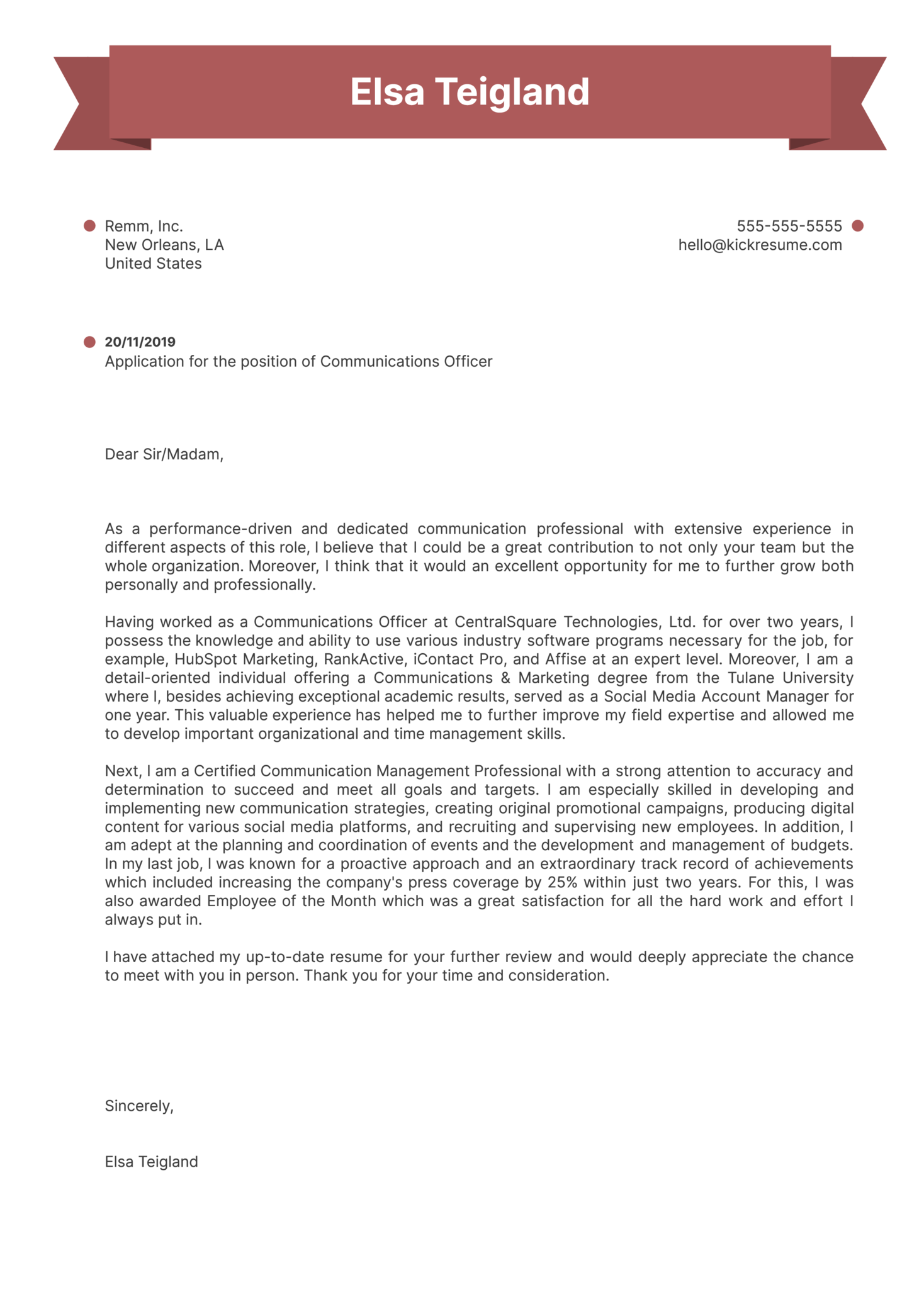 Communications Officer Cover Letter Example