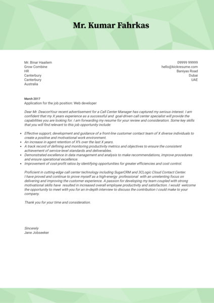 Souq Web Developer Cover Letter Sample