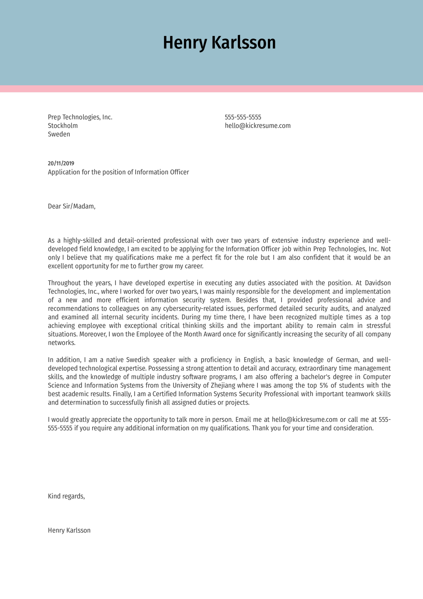 Information Officer Cover Letter Example