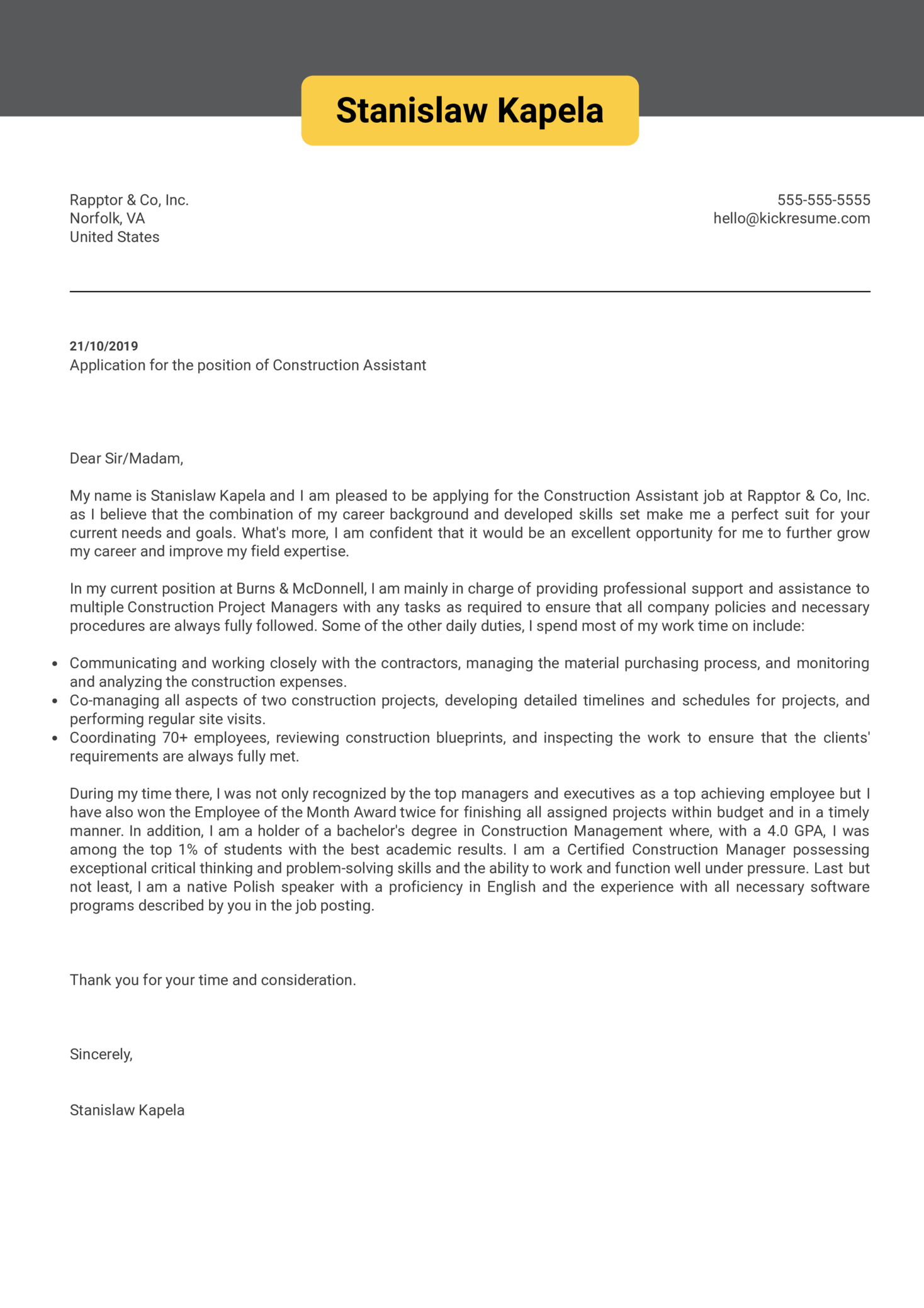 Construction Assistant Cover Letter Sample