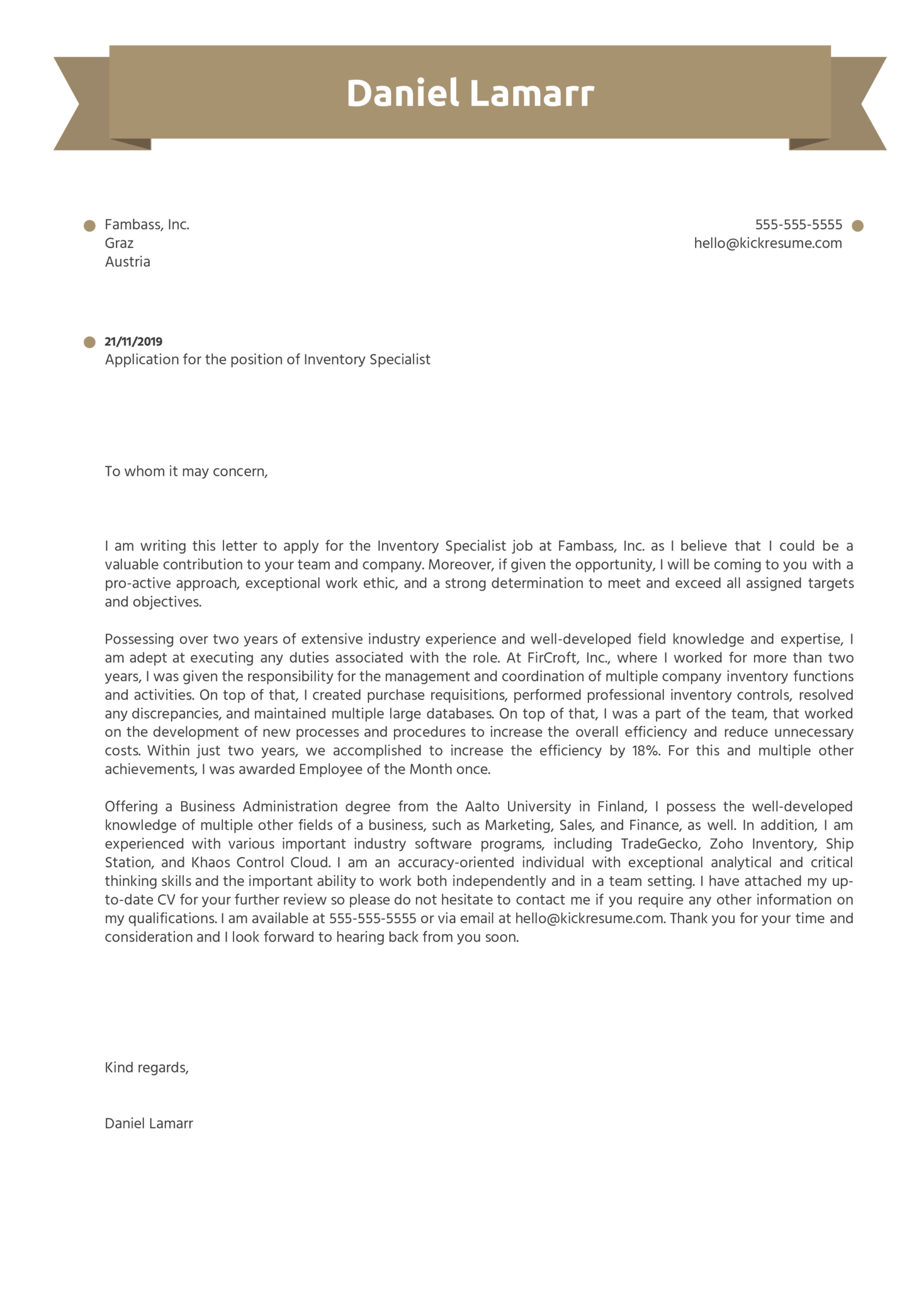 Inventory Specialist Cover Letter Sample
