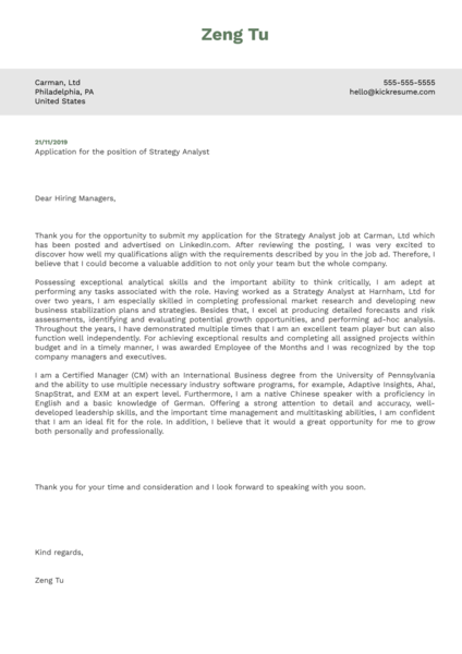 Strategy Analyst Cover Letter Sample