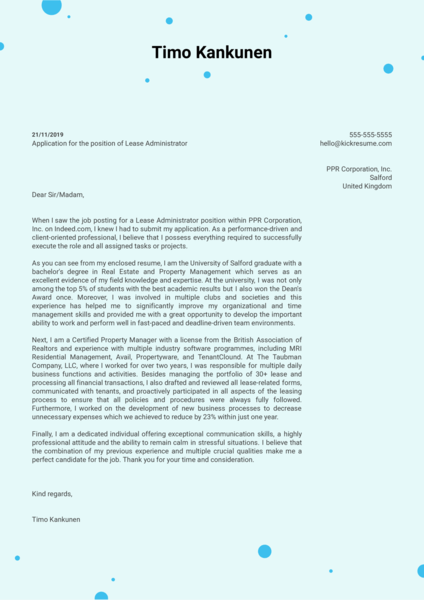 Lease Administrator Cover Letter Example