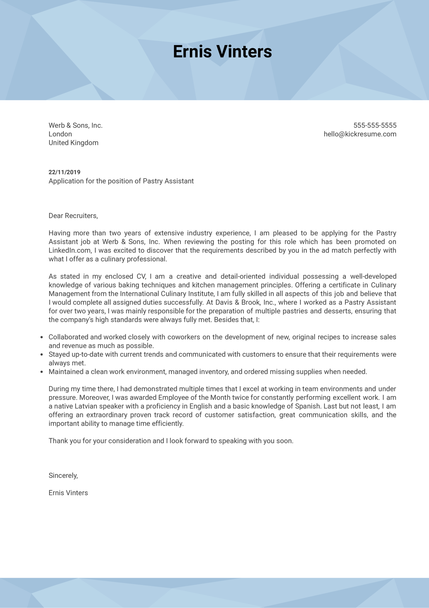 Pastry Assistant Cover Letter Example