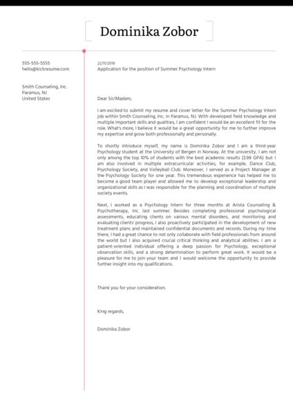 Psychology Internship Cover Letter Sample