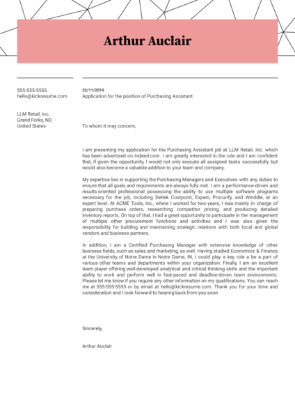 Purchasing Assistant Cover Letter Example