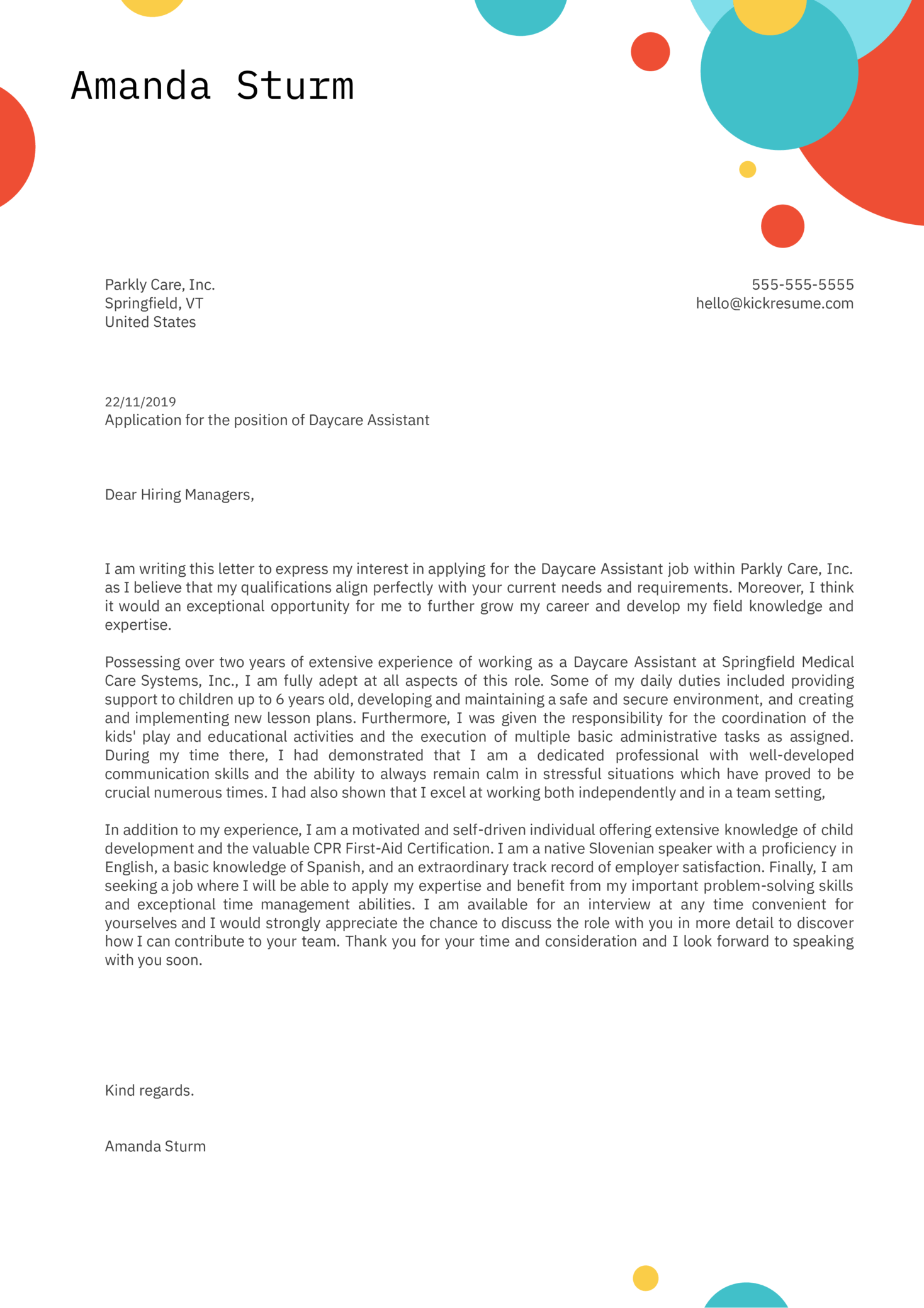 Daycare Assistant Cover Letter Example