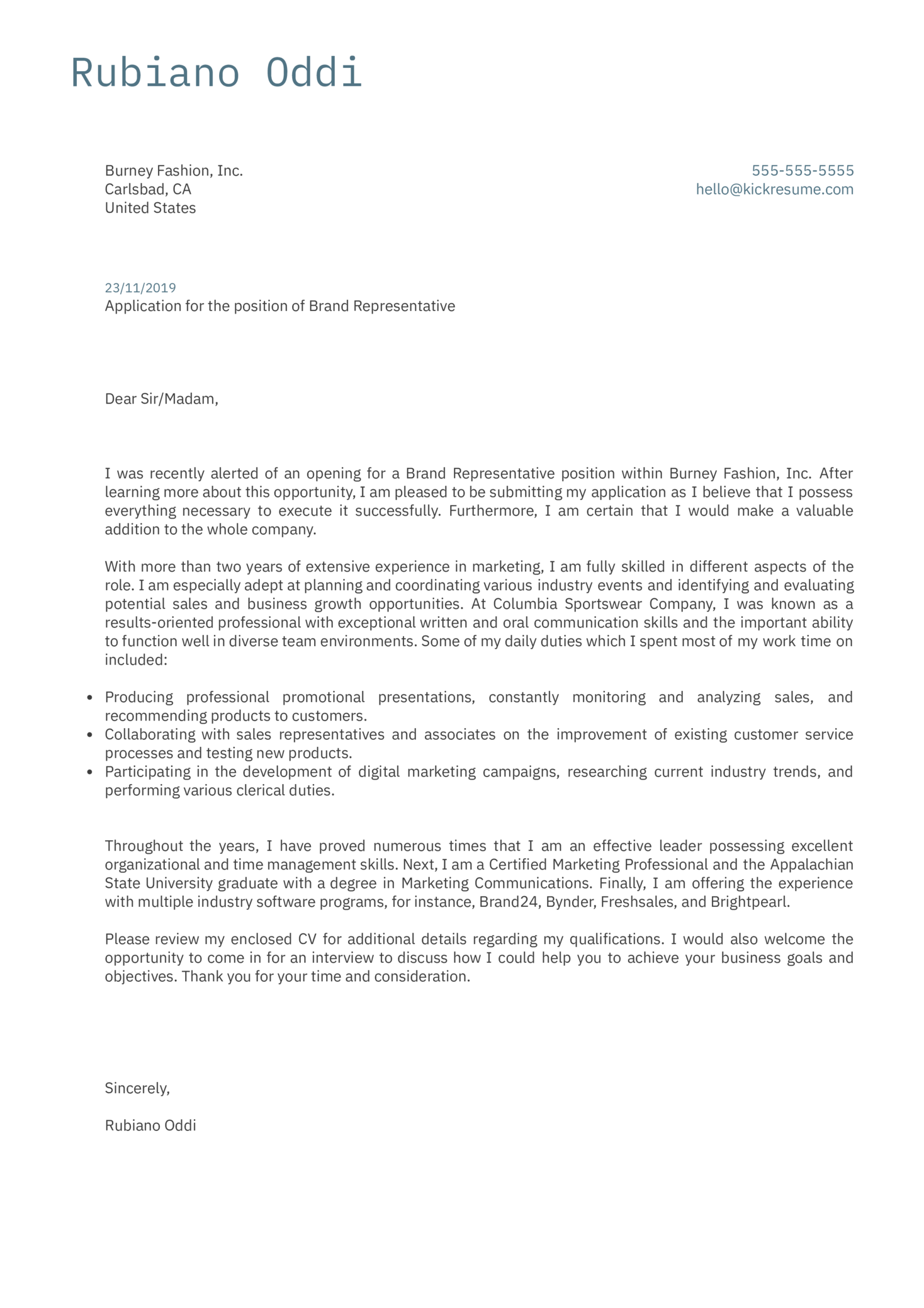 Brand Representative Cover Letter Example