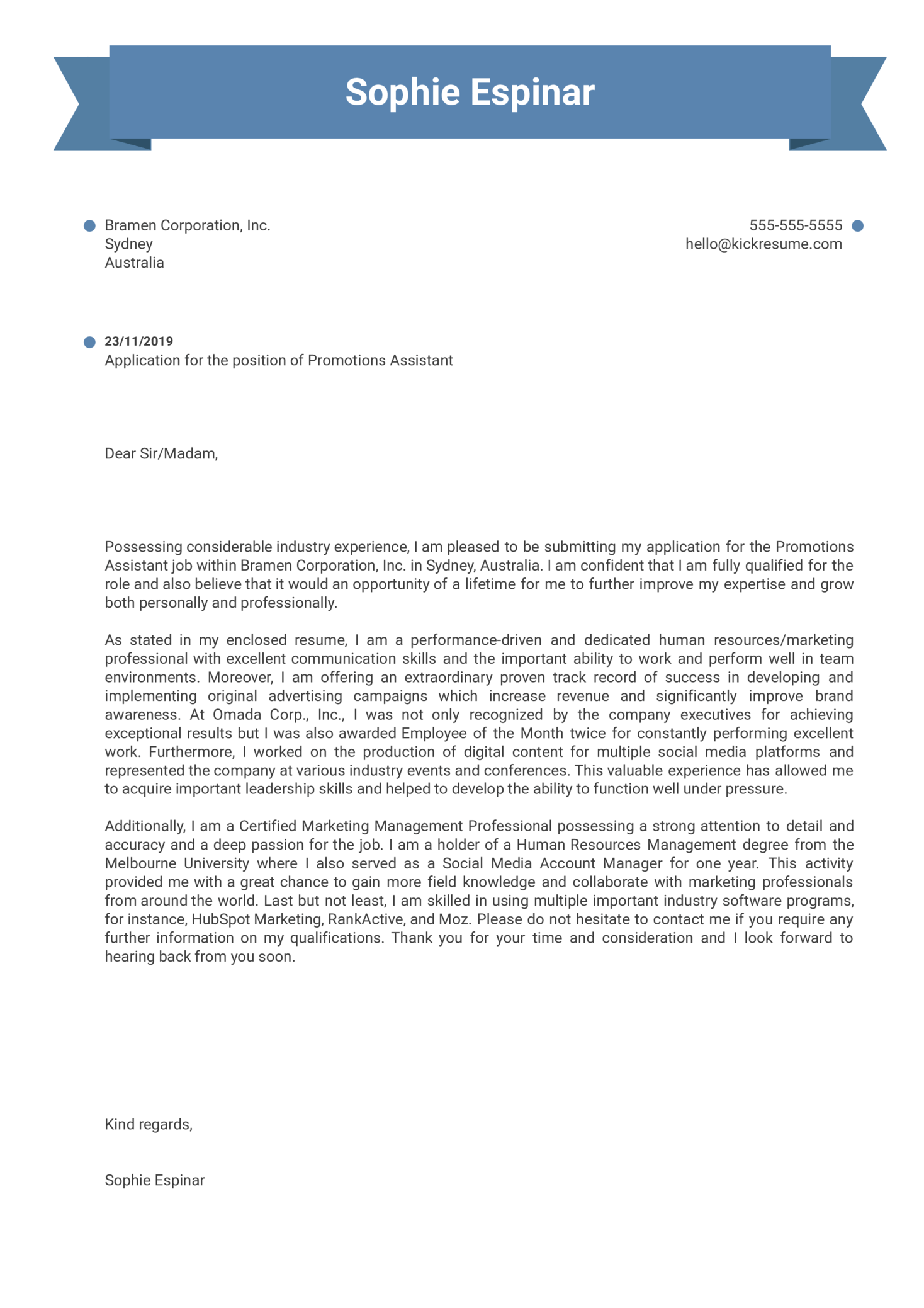 Promotions Assistant Cover Letter Example