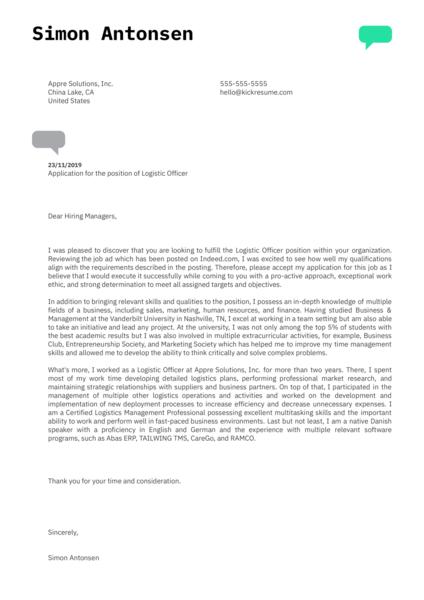 Logistic Officer Cover Letter Sample