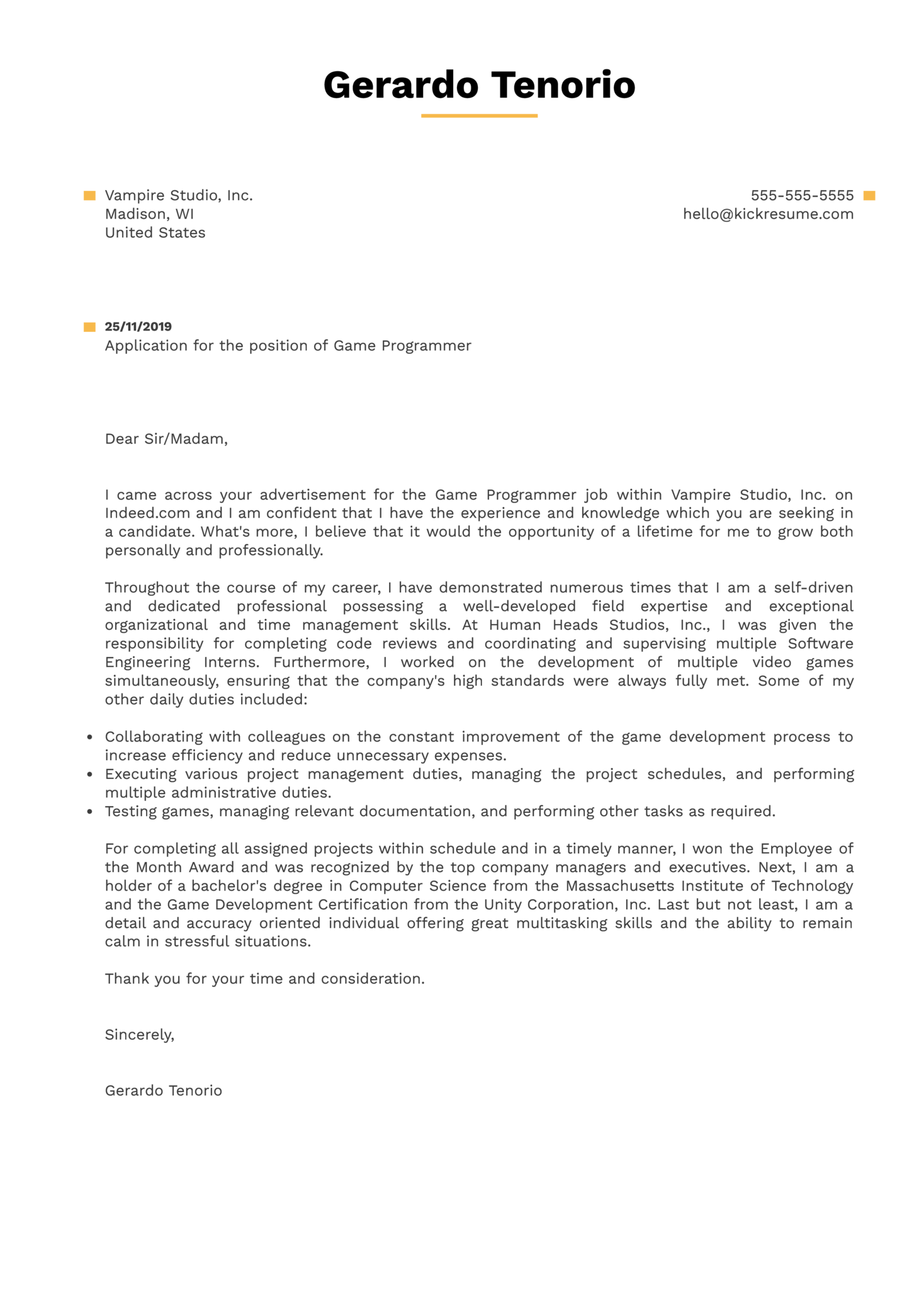 Game Programmer Cover Letter Example
