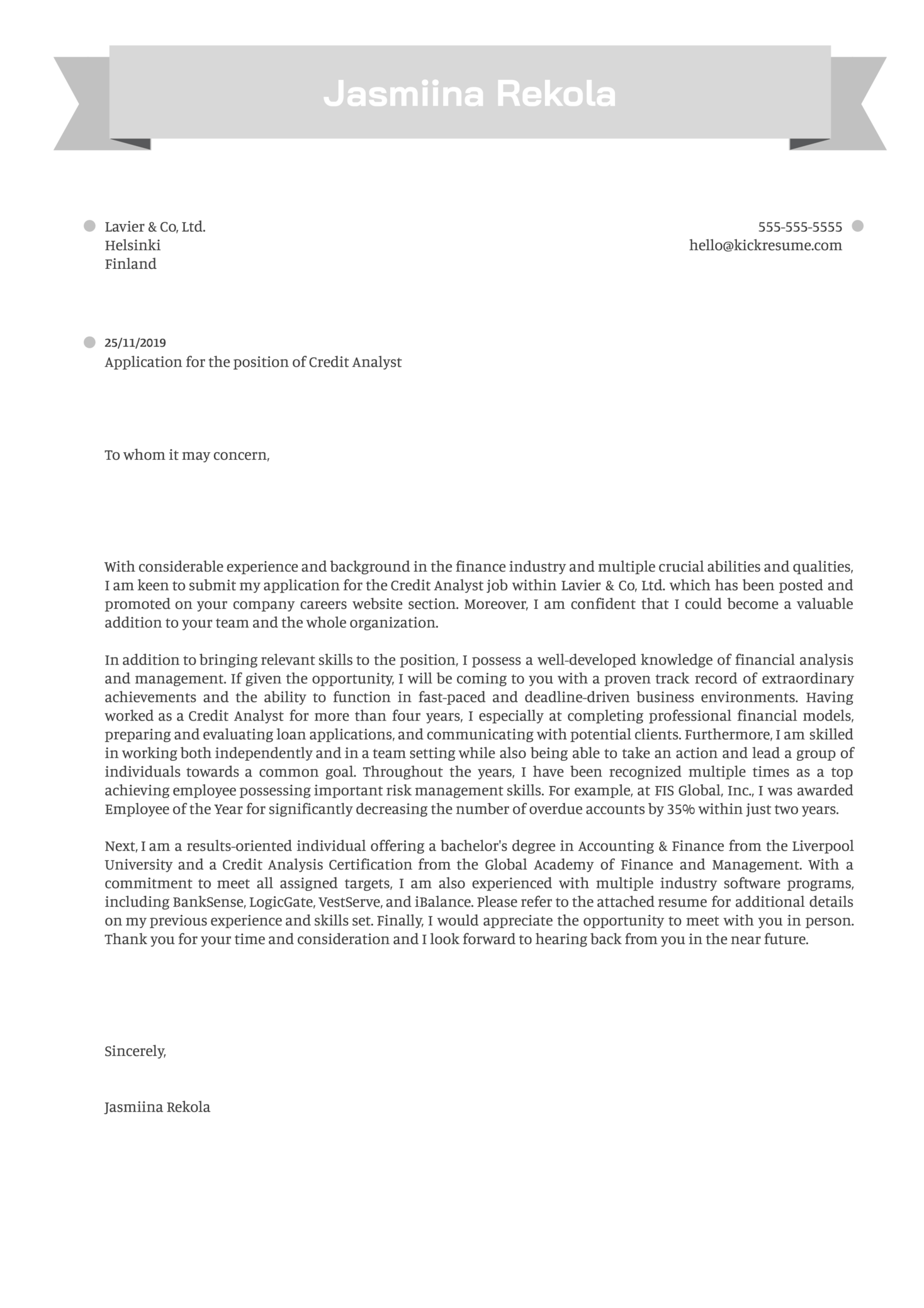 Credit Analyst Cover Letter Sample
