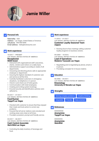 MGM Grand Receptionist Resume Template