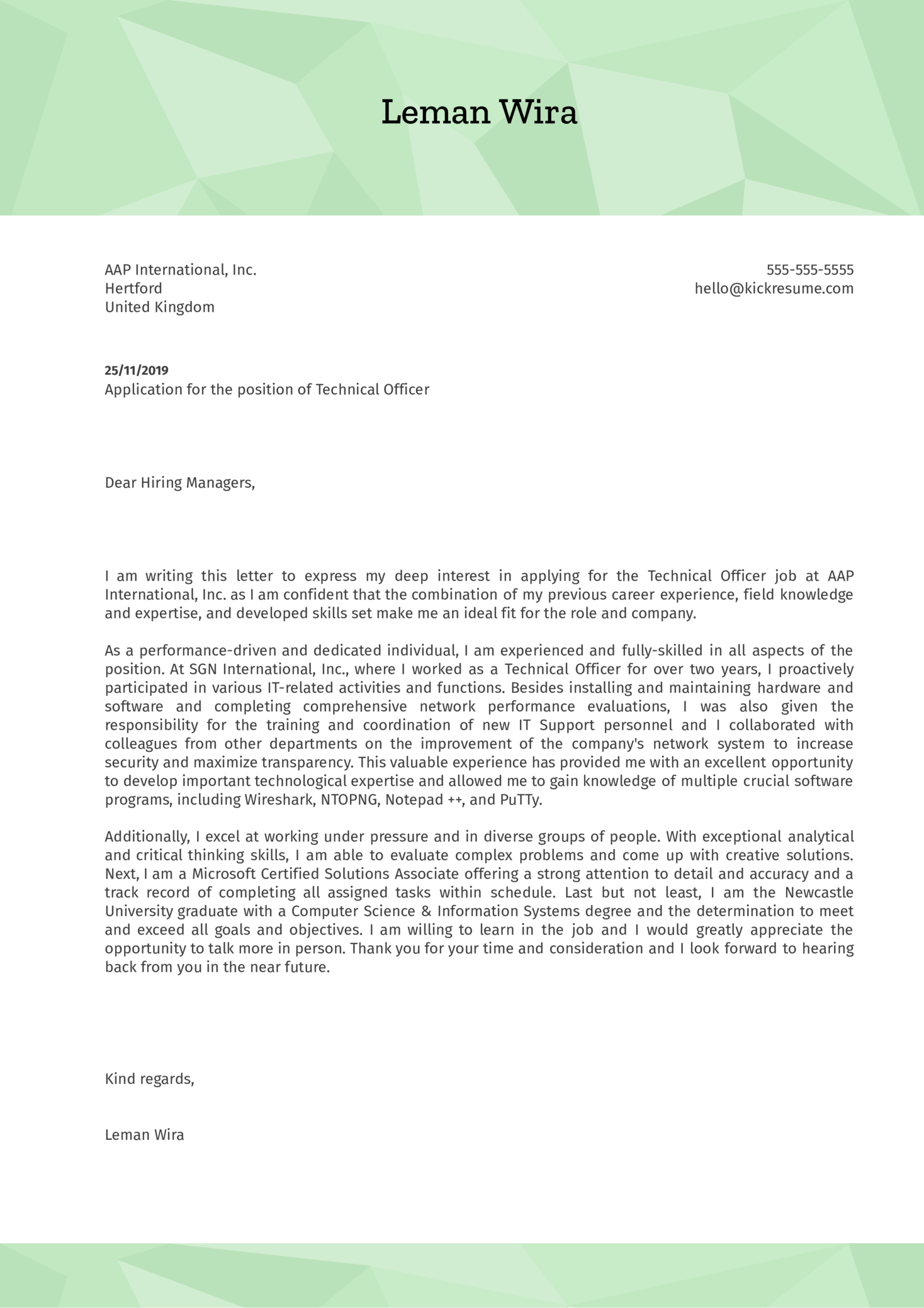 Technical Officer Cover Letter Example
