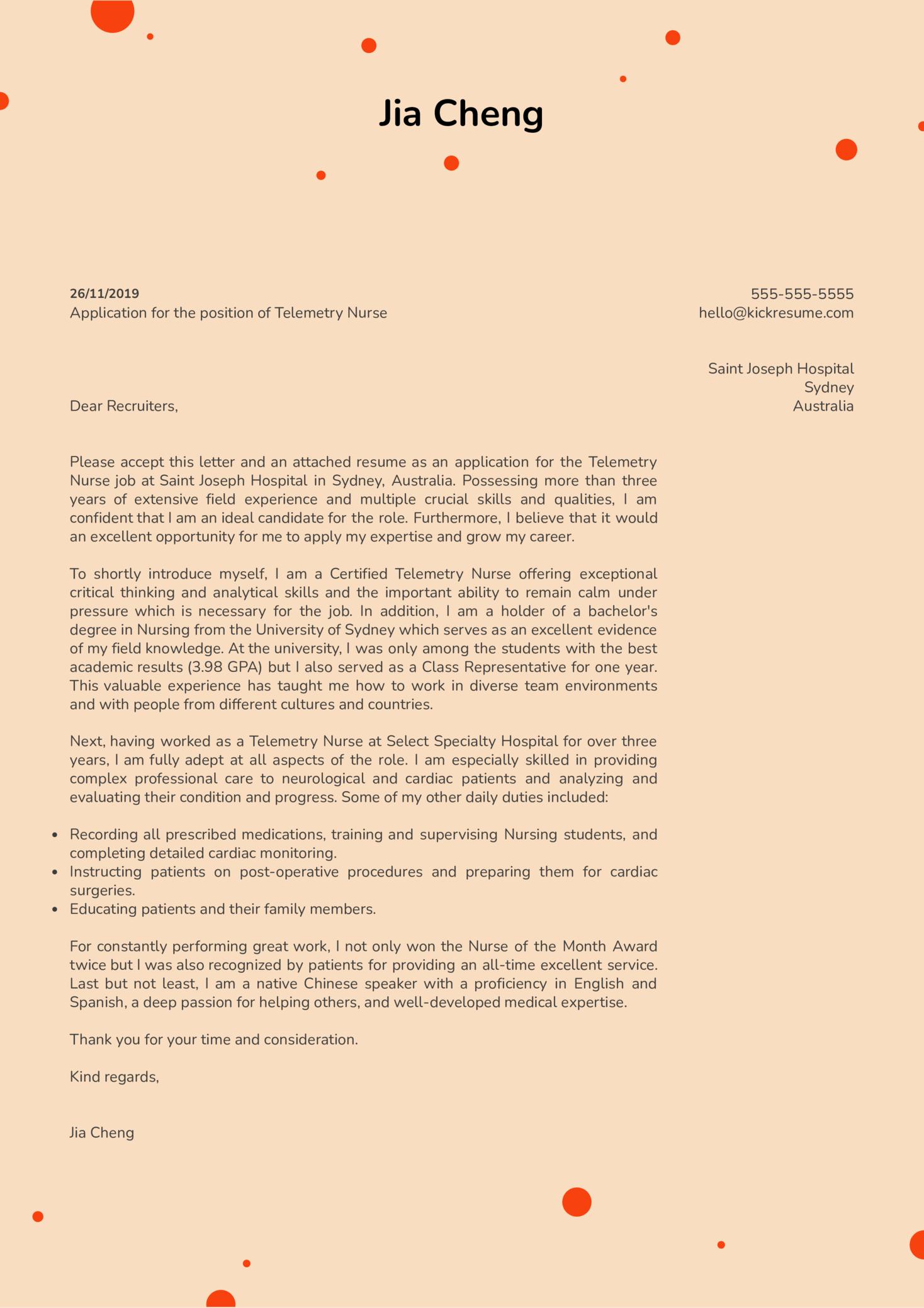 Telemetry Nurse Cover Letter Example