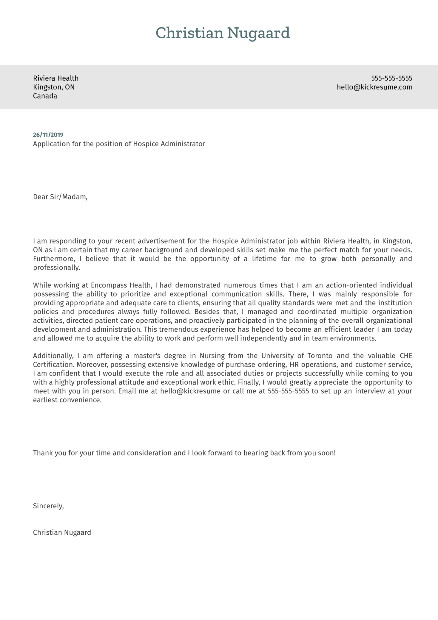 Hospice Administrator Cover Letter Template