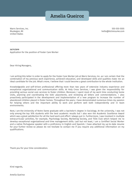 Foster Care Worker Cover Letter Example
