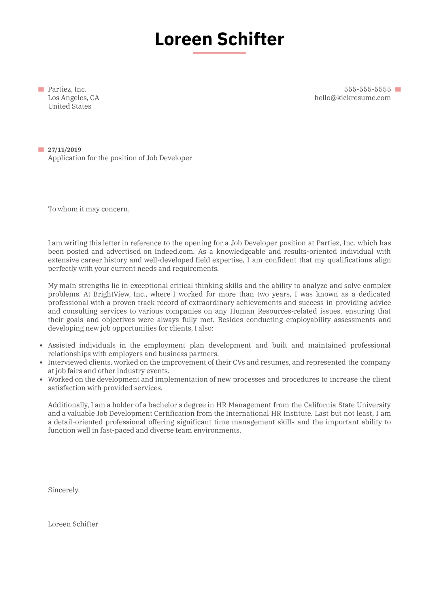 Job Developer Cover Letter Sample