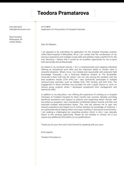 Hospital Volunteer Cover Letter Sample