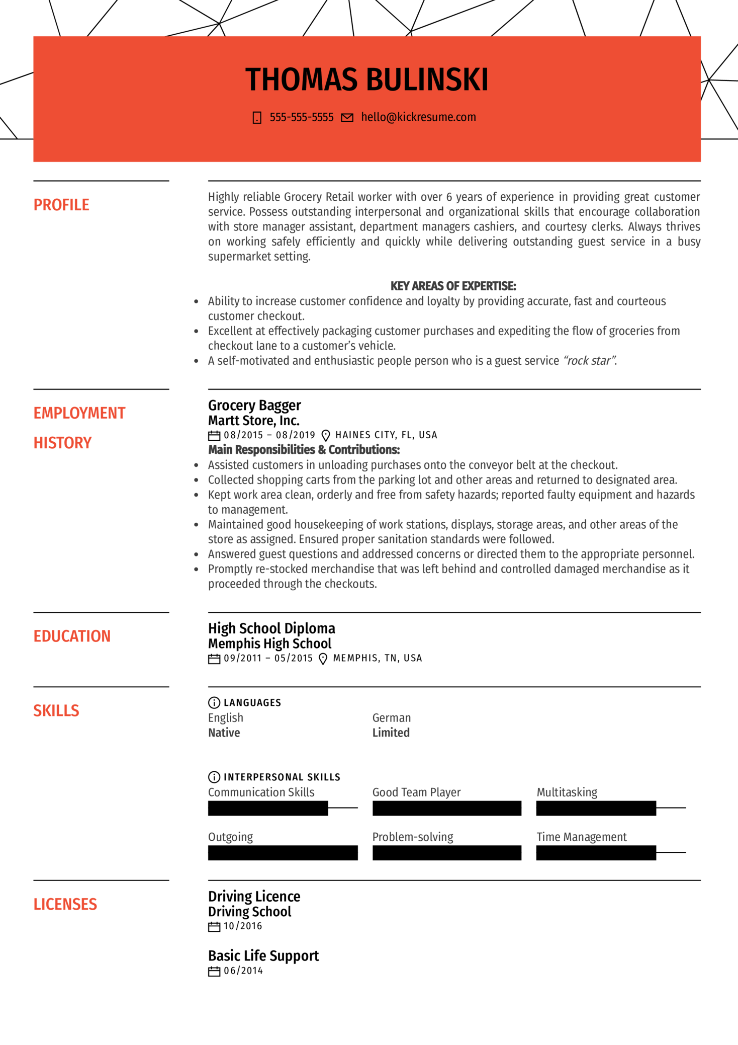 Grocery Bagger Resume Sample