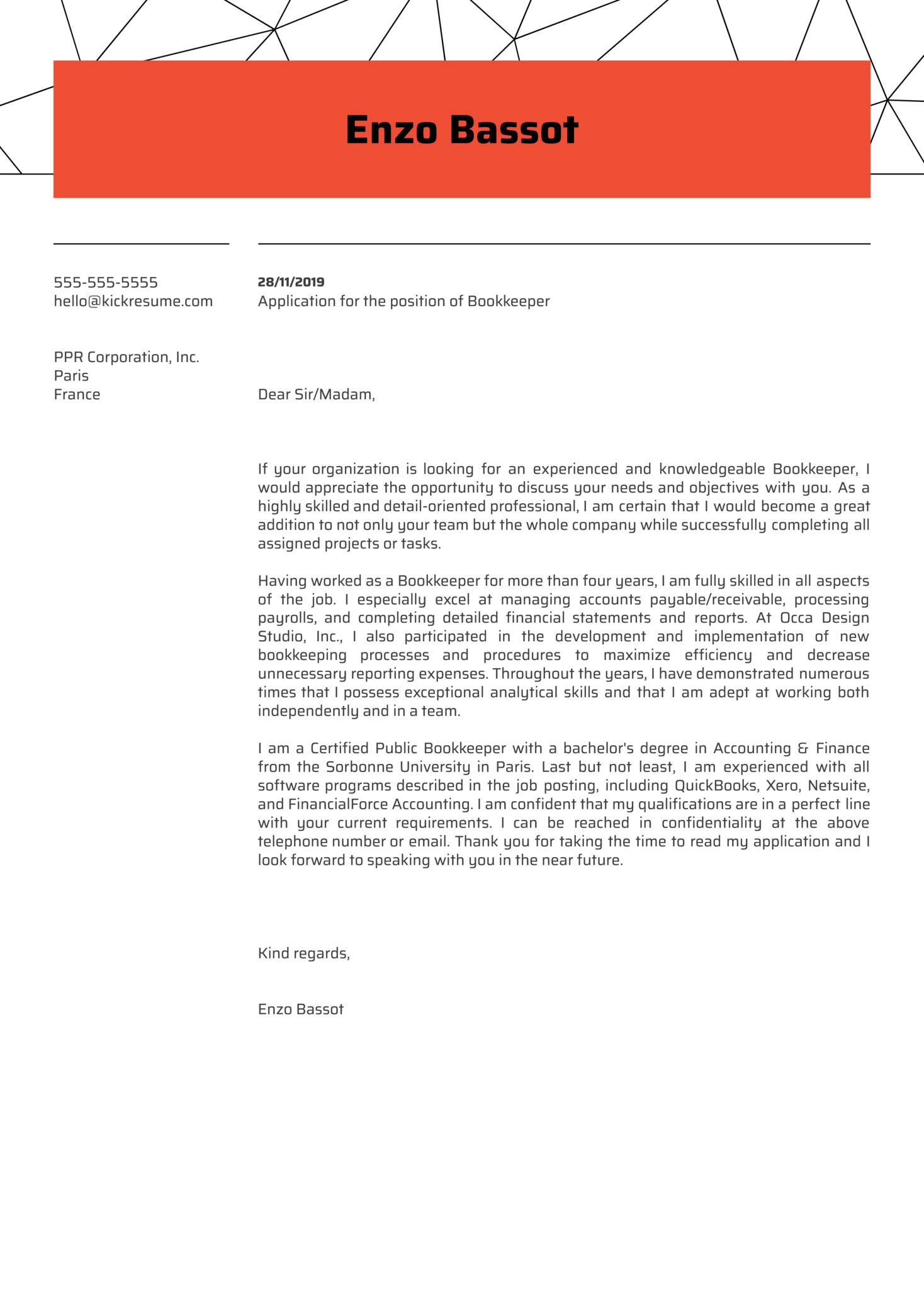Bookkeeper Cover Letter Sample