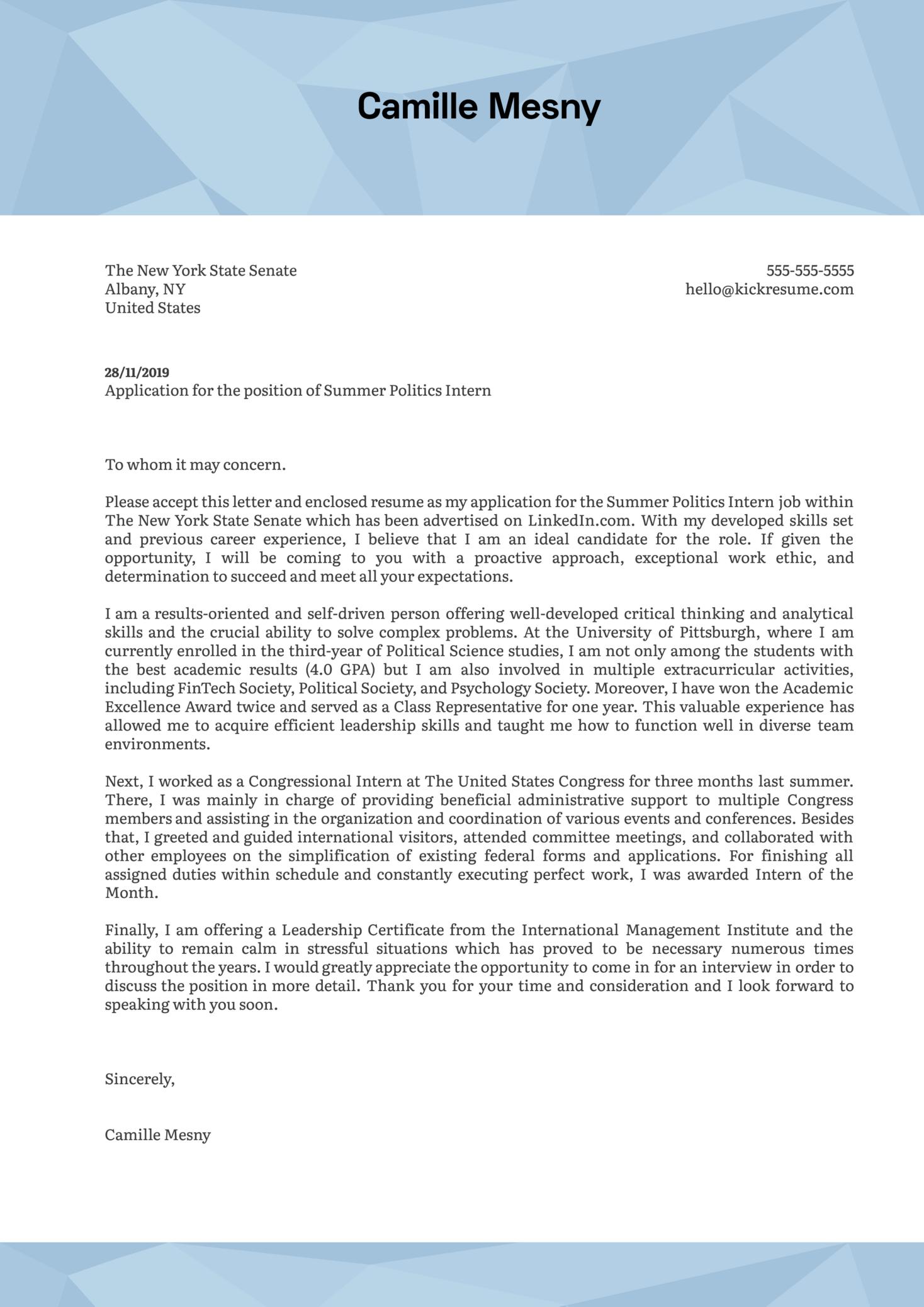 Politics Internship Cover Letter Example