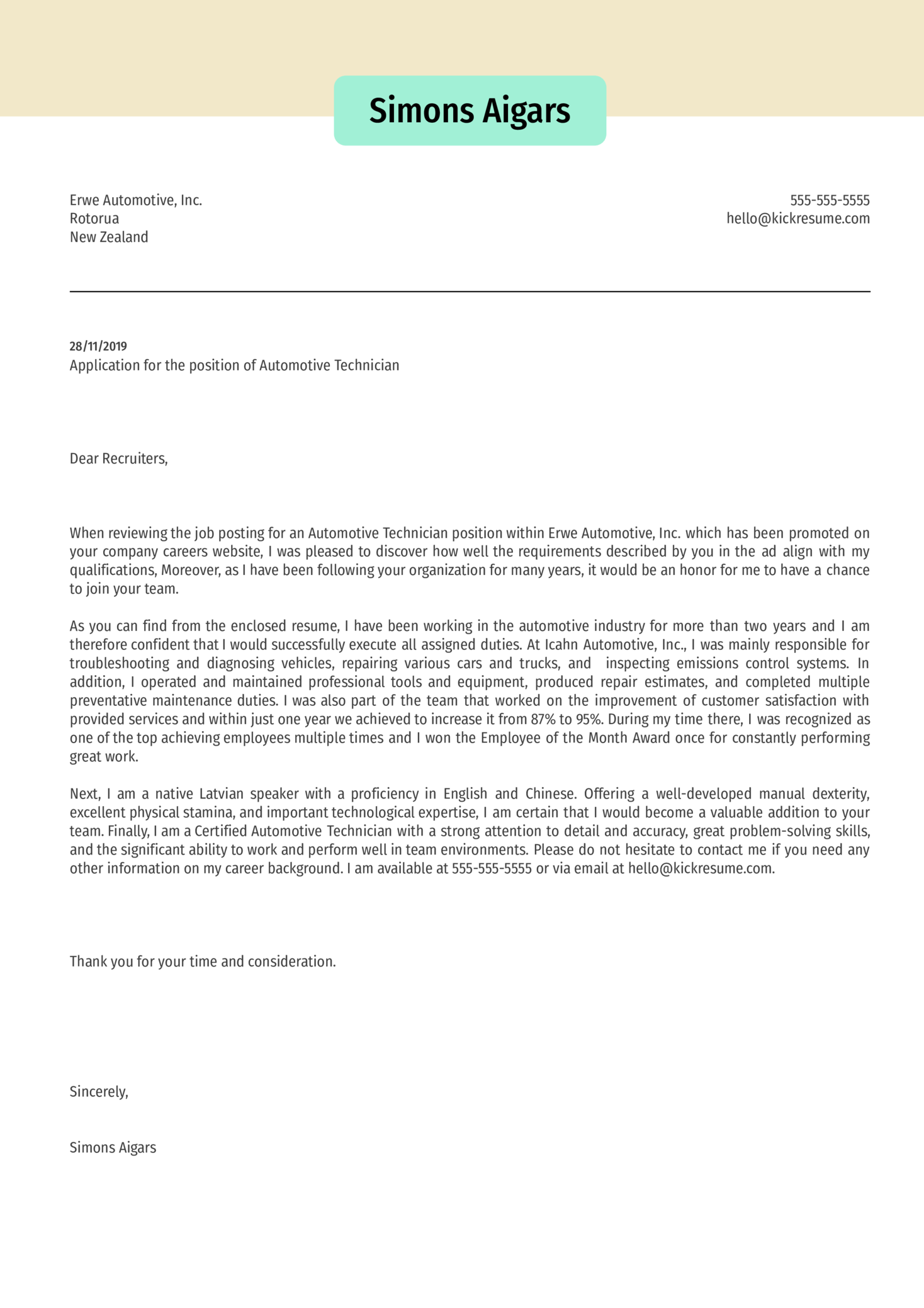 Automotive Technician Cover Letter Sample