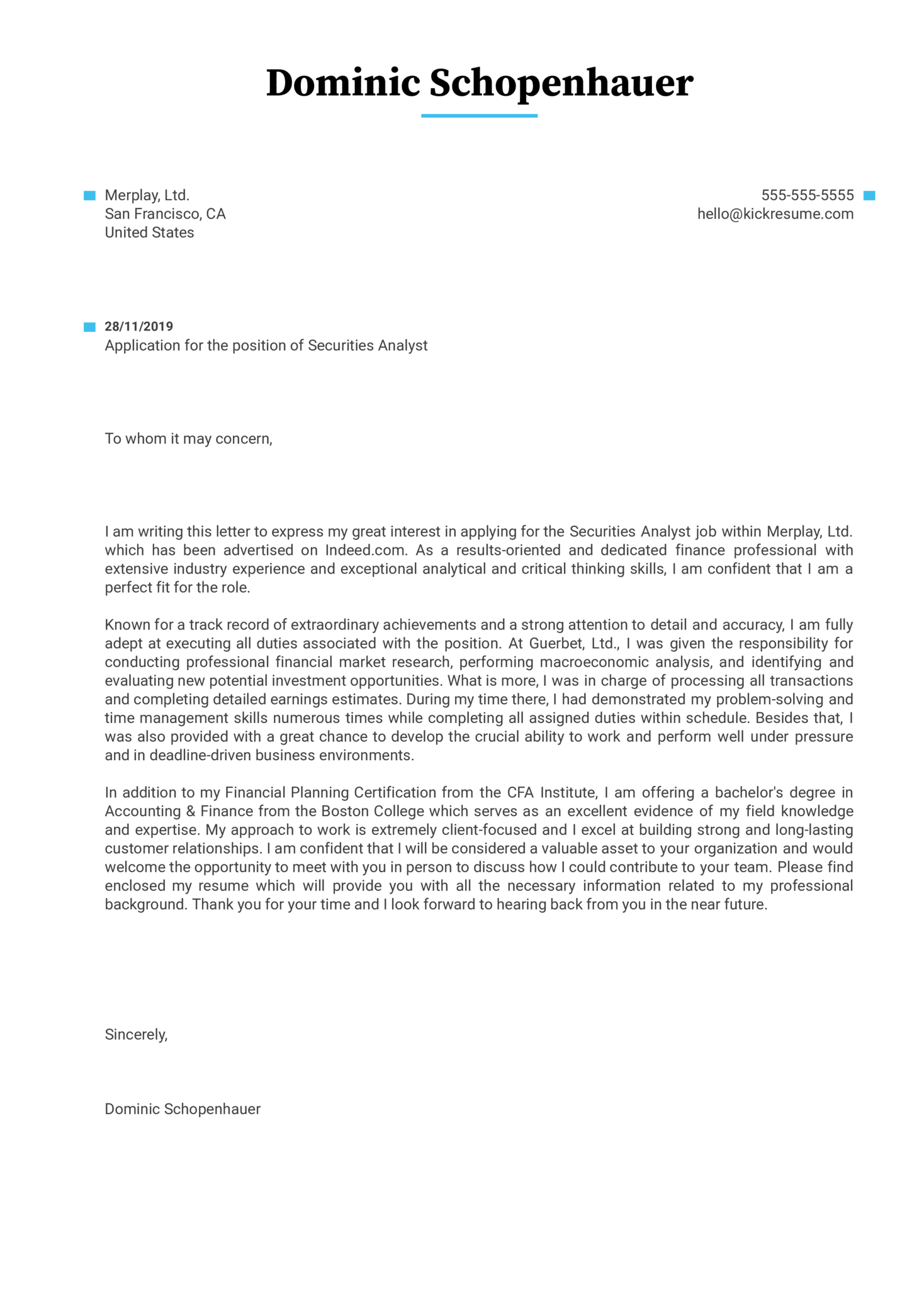 Securities Analyst Cover Letter Example