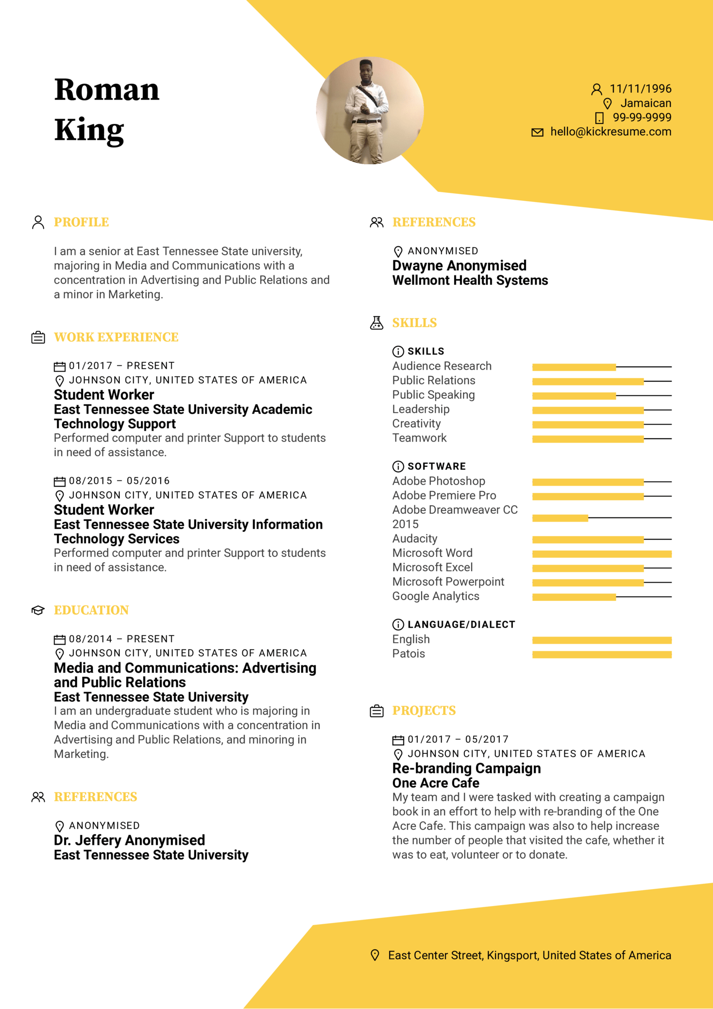 Media Specialist Intern Resume Template (Part 1)