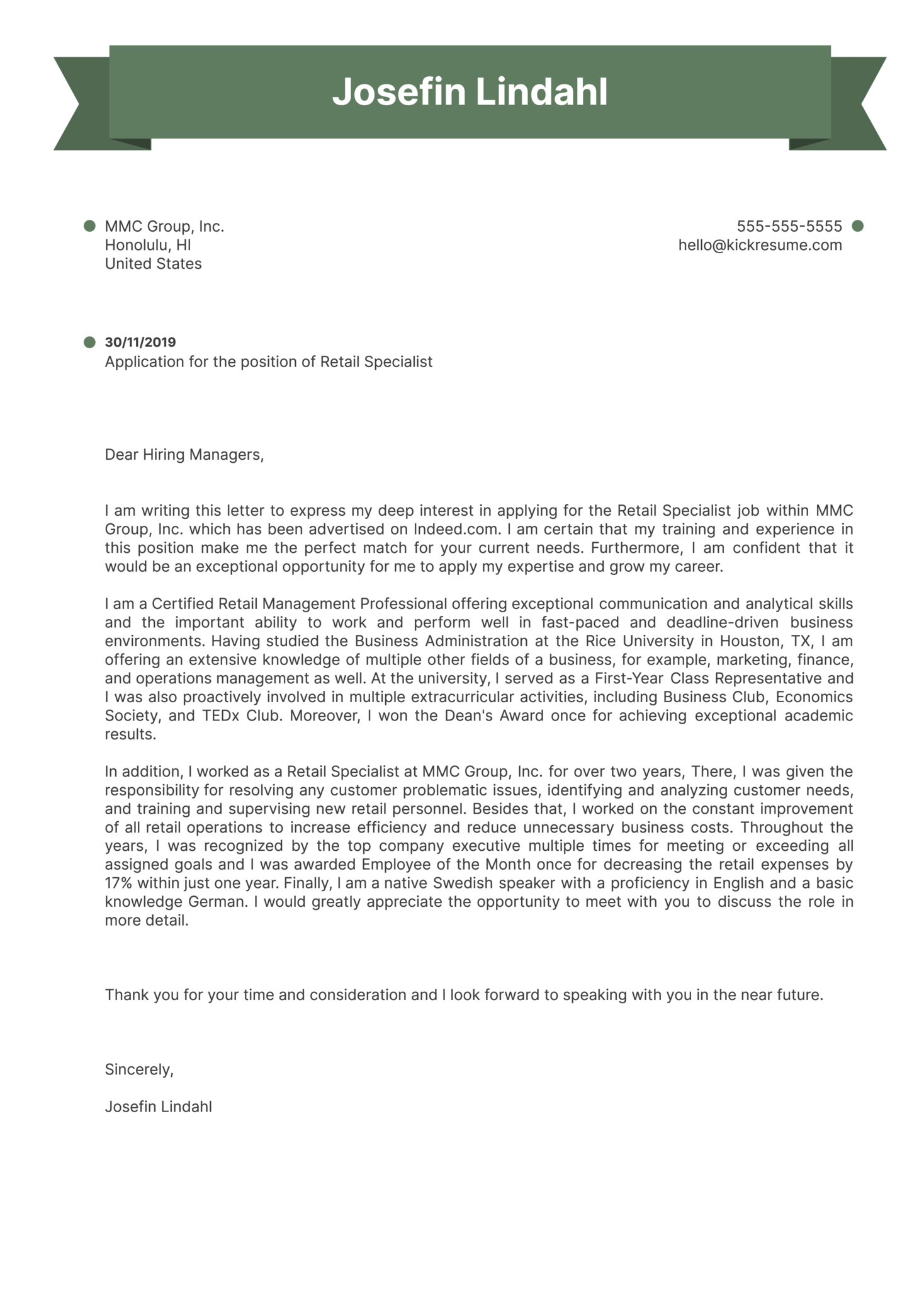 Retail Specialist Cover Letter Example