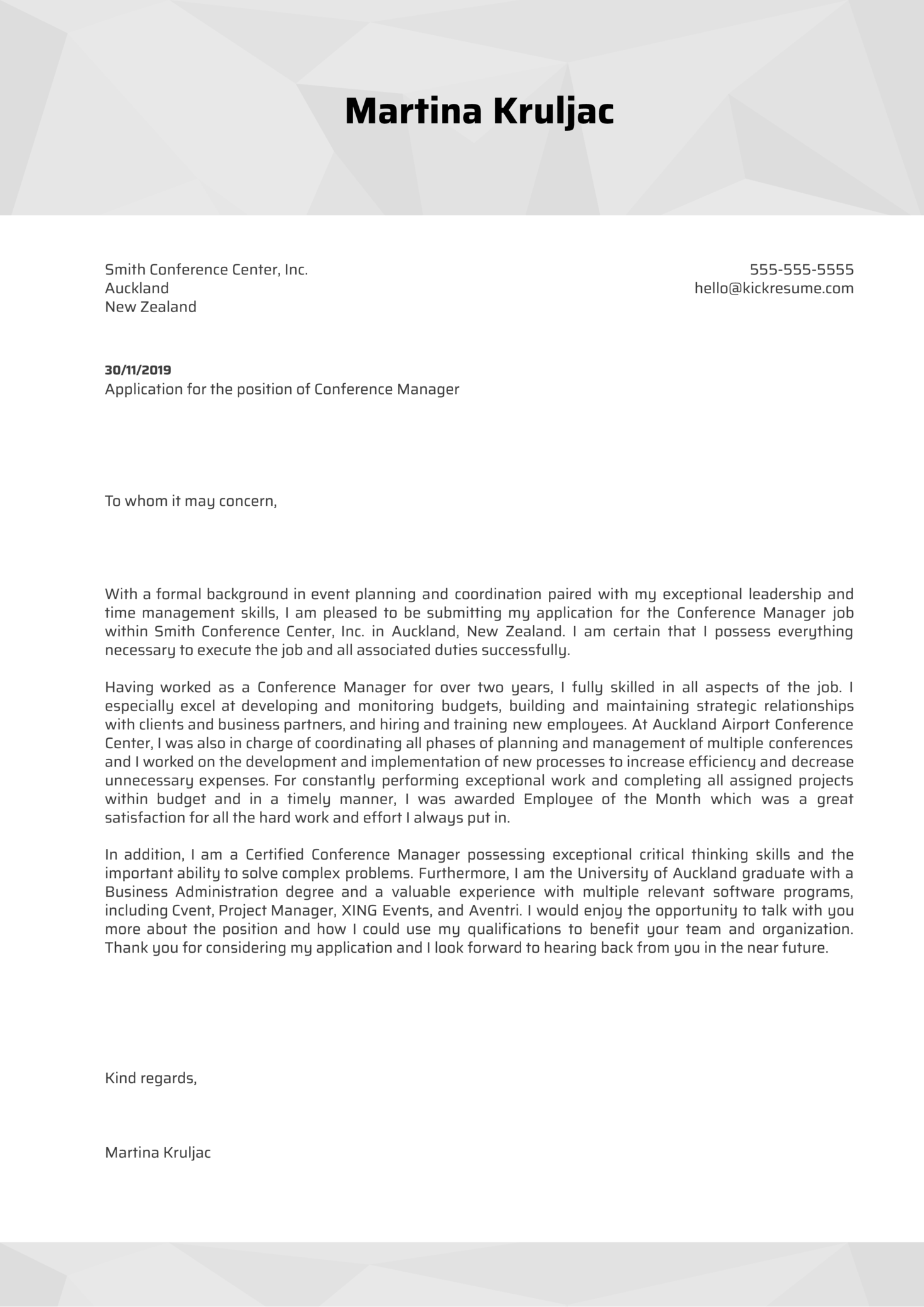 Conference Manager Cover Letter Example