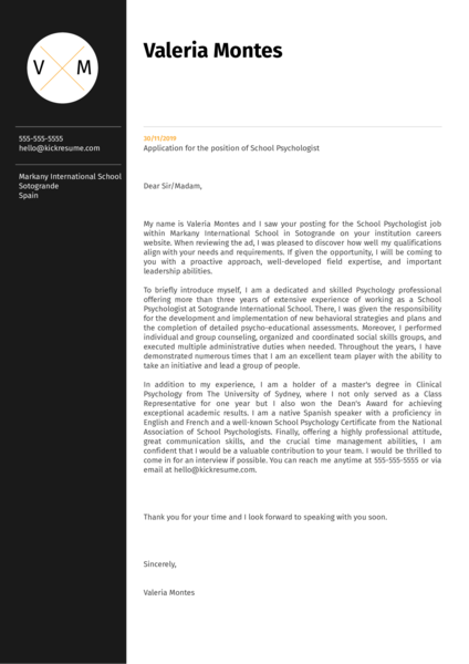 School Psychologist Cover Letter Example