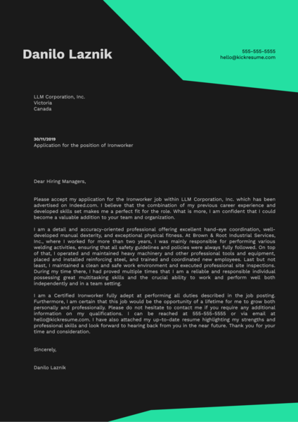 Ironworker Cover Letter Example