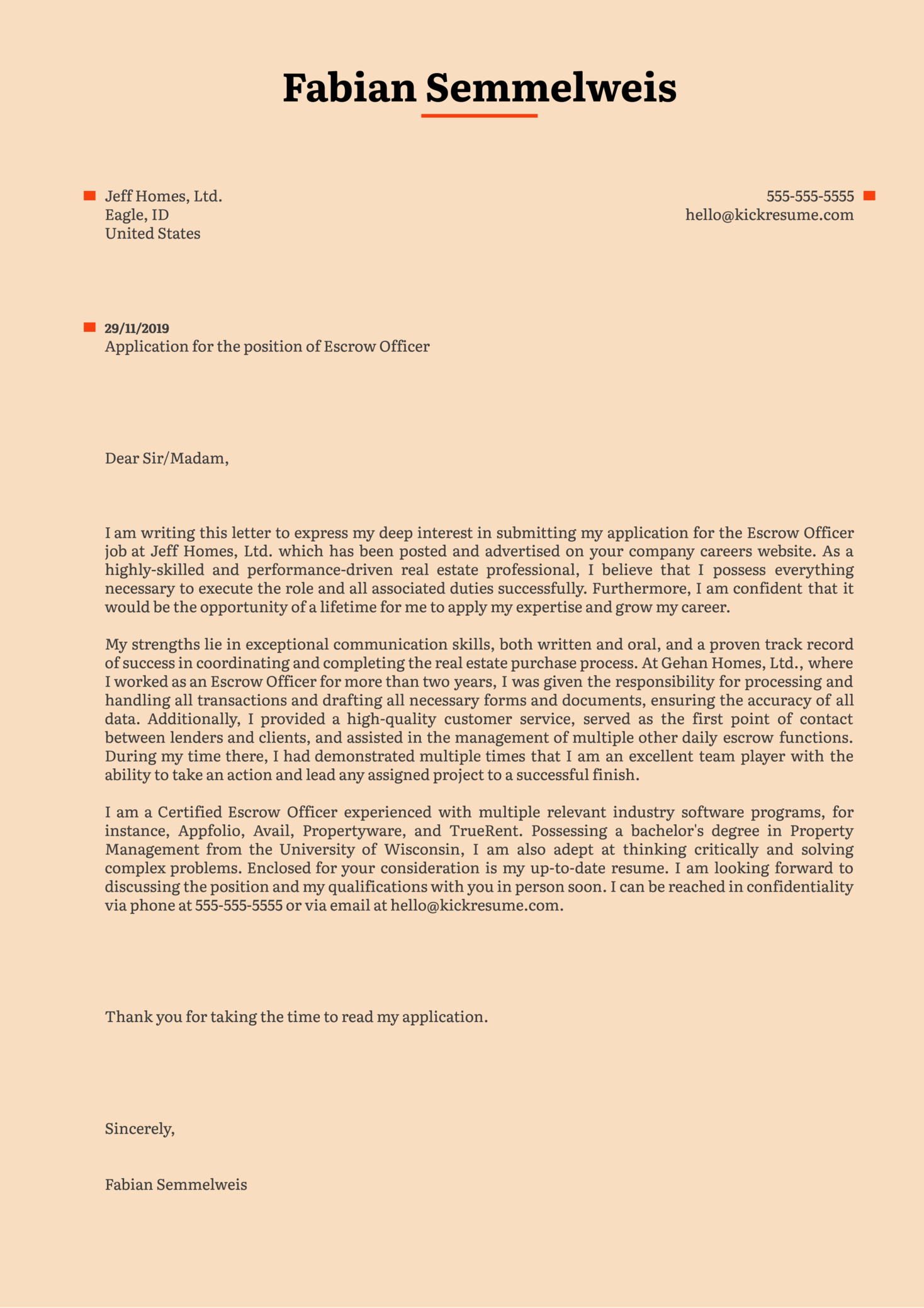 Escrow Officer Cover Letter Sample