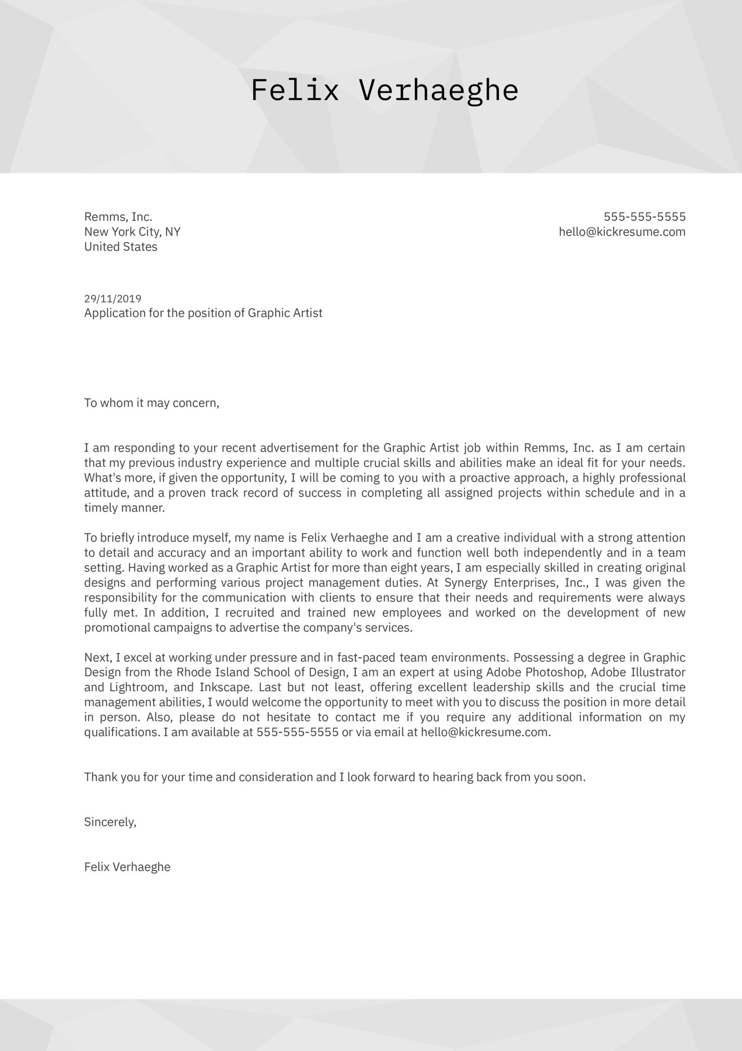 Graphic Artist Cover Letter Sample