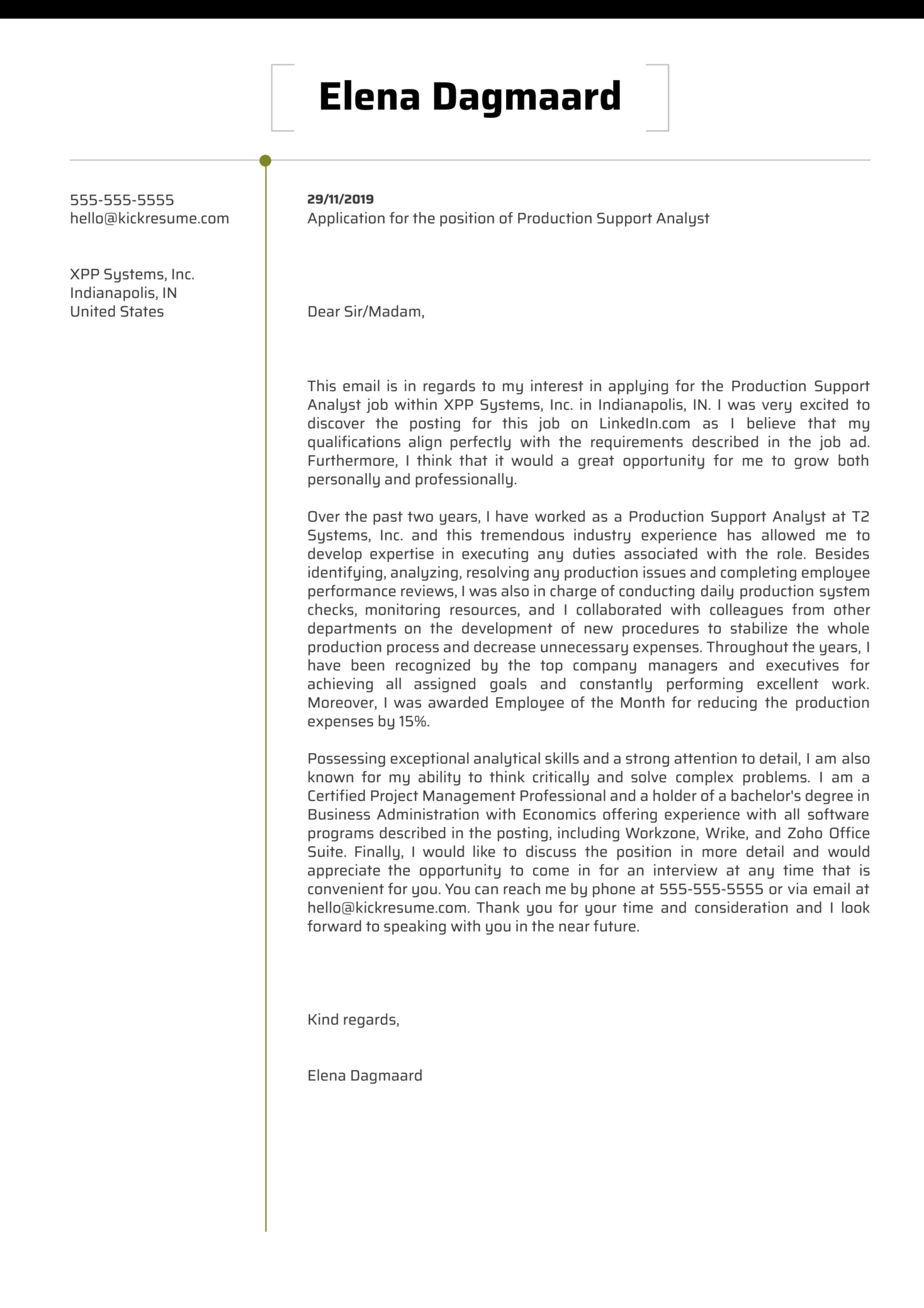 Production Support Analyst Cover Letter Sample