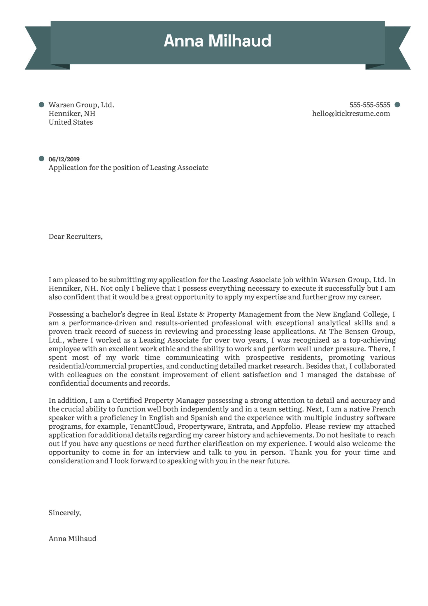 Leasing Associate Cover Letter Example