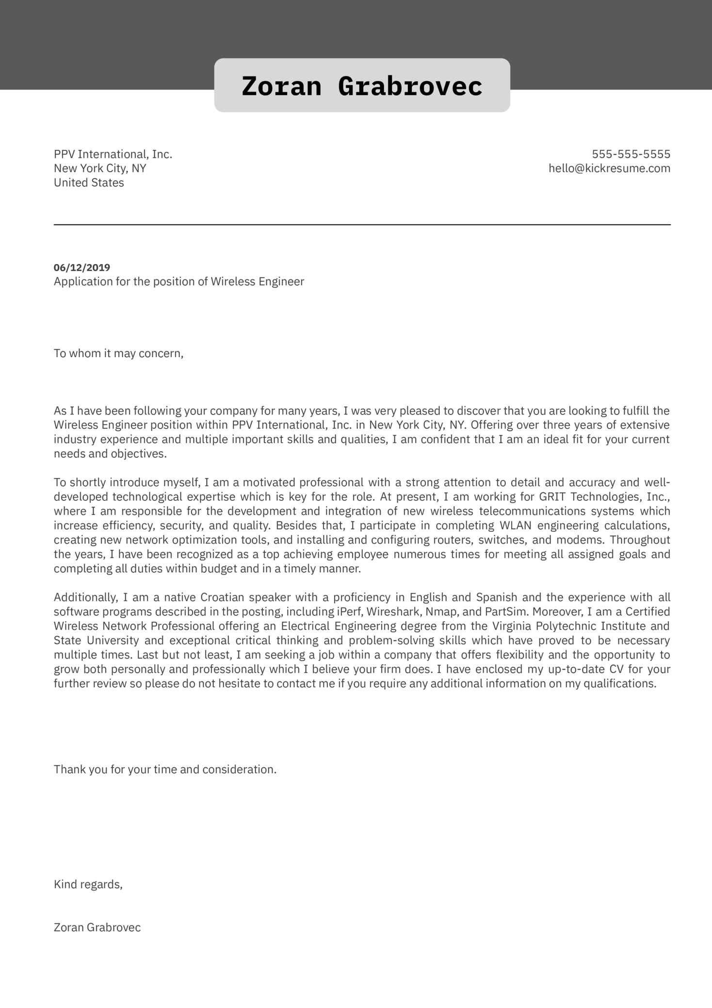 Wireless Engineer Cover Letter Example