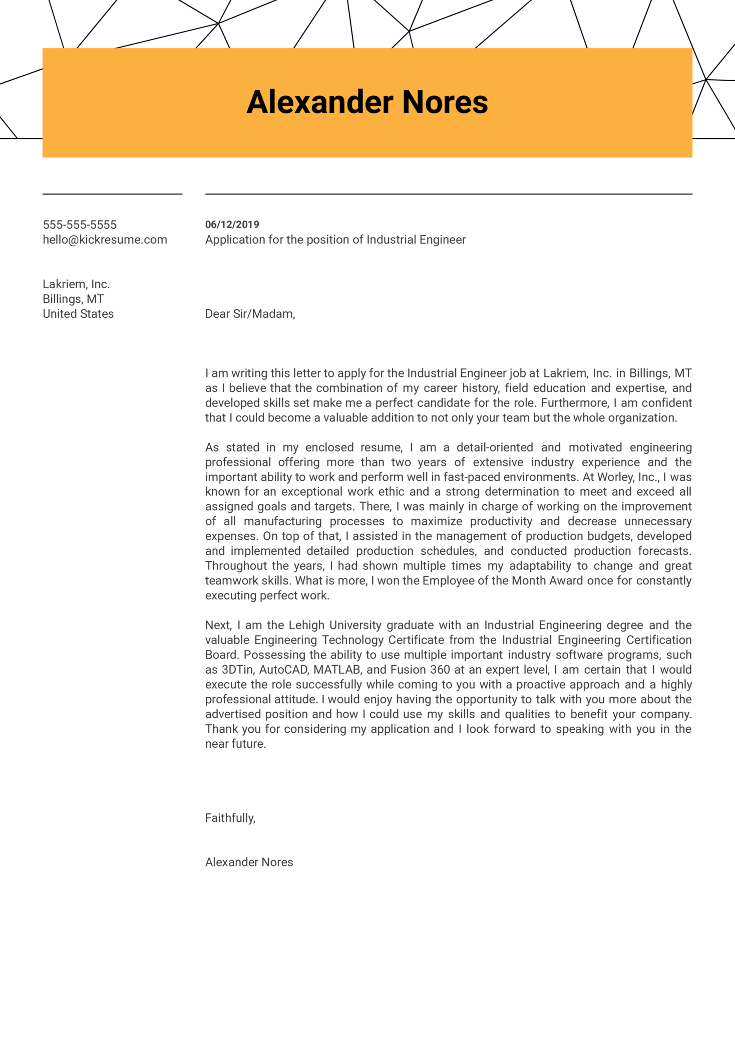 Industrial Engineer Cover Letter Sample