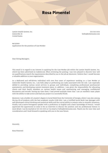 Case Worker Cover Letter Sample