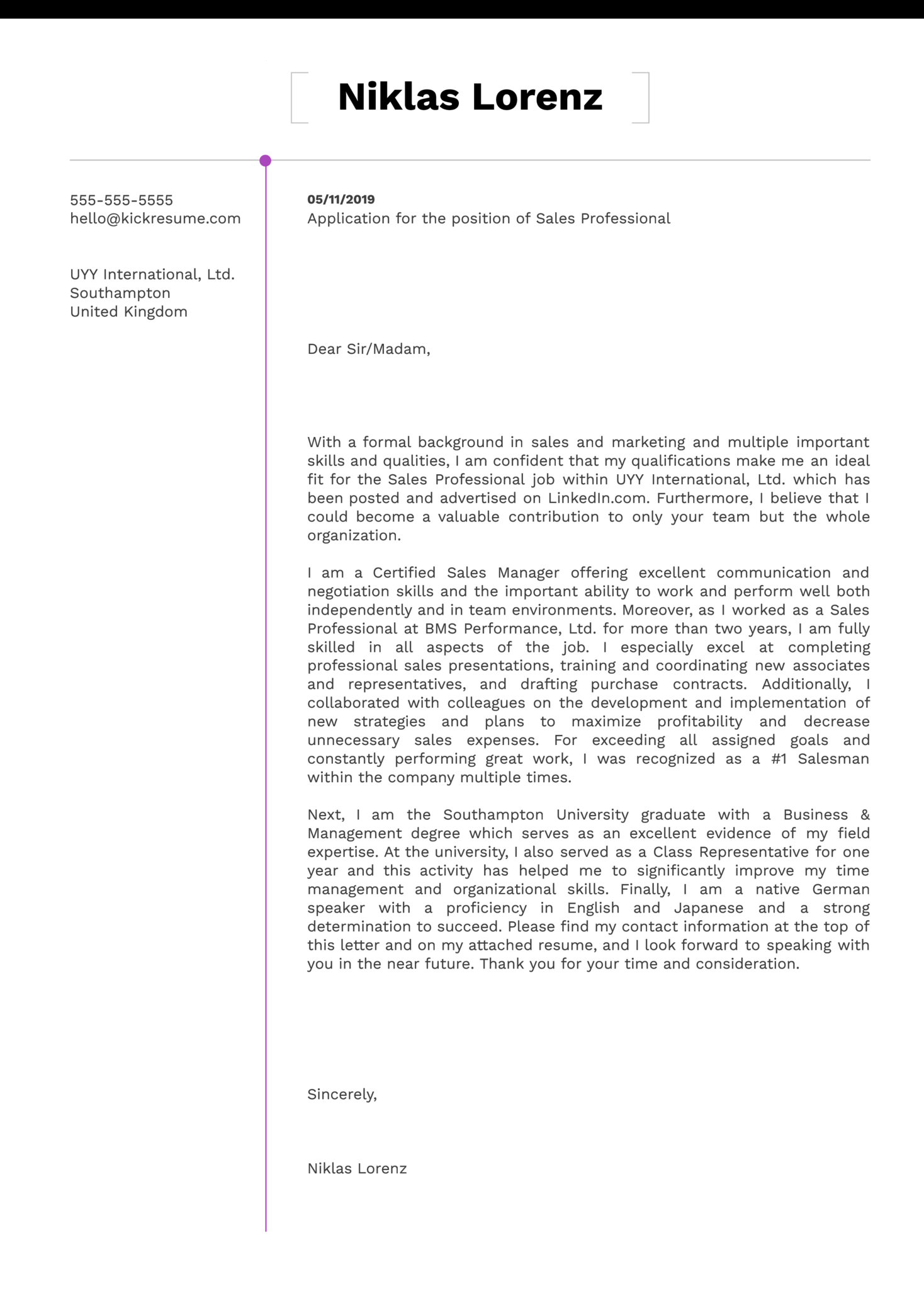 Sales Professional Cover Letter Example