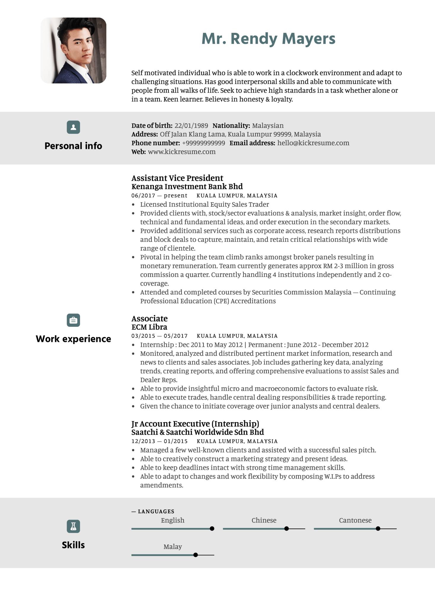 Kenanga Assistant Vice President Resume Sample (Part 1)
