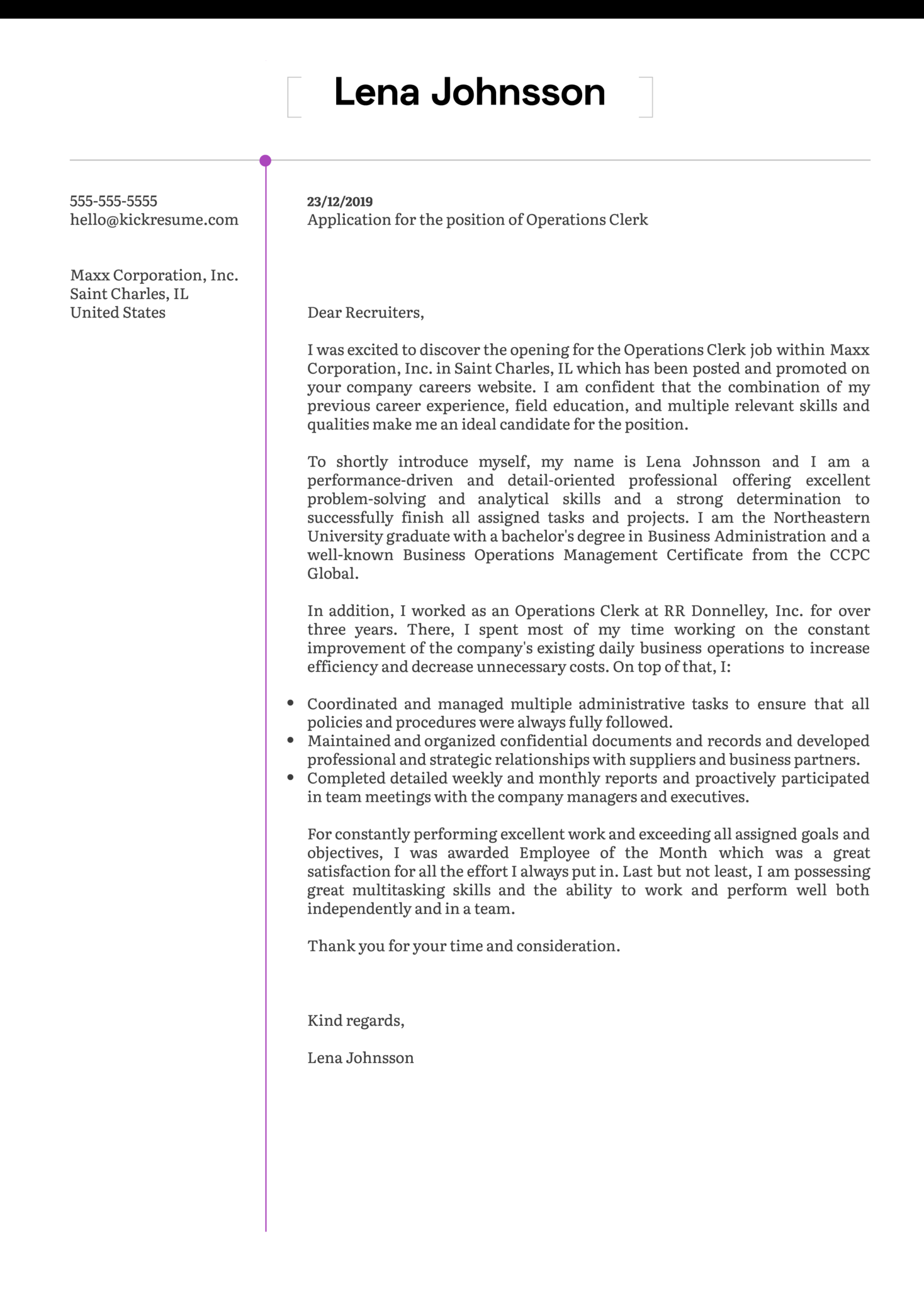 Operations Clerk Cover Letter Sample