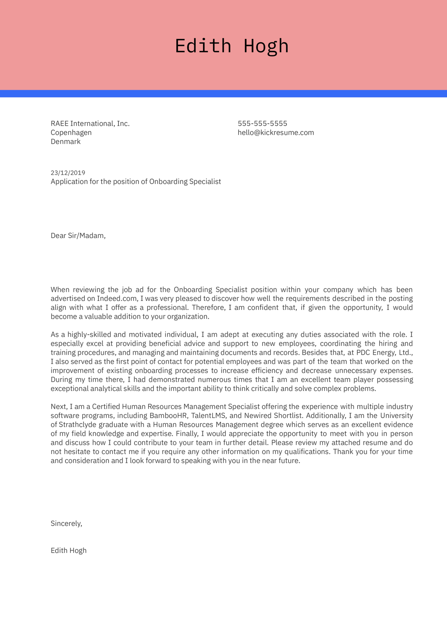 Onboarding Specialist Cover Letter Example