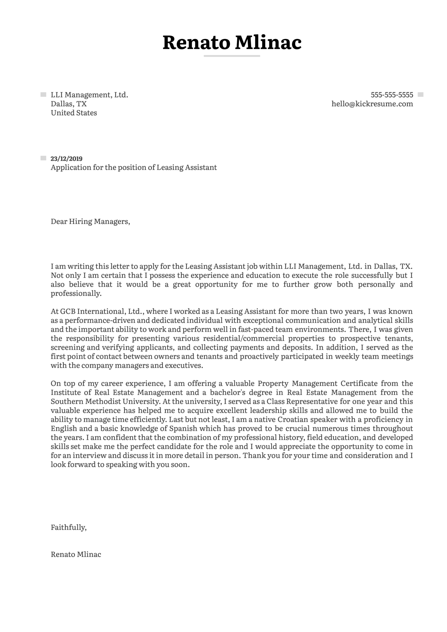 Leasing Assistant Cover Letter Example