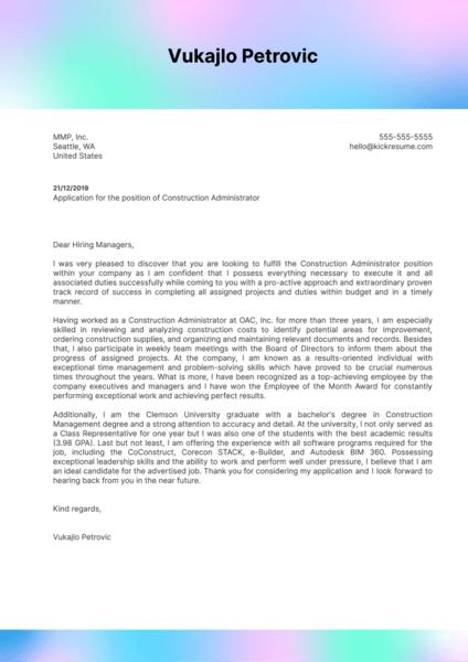 Construction Administrator Cover Letter Sample