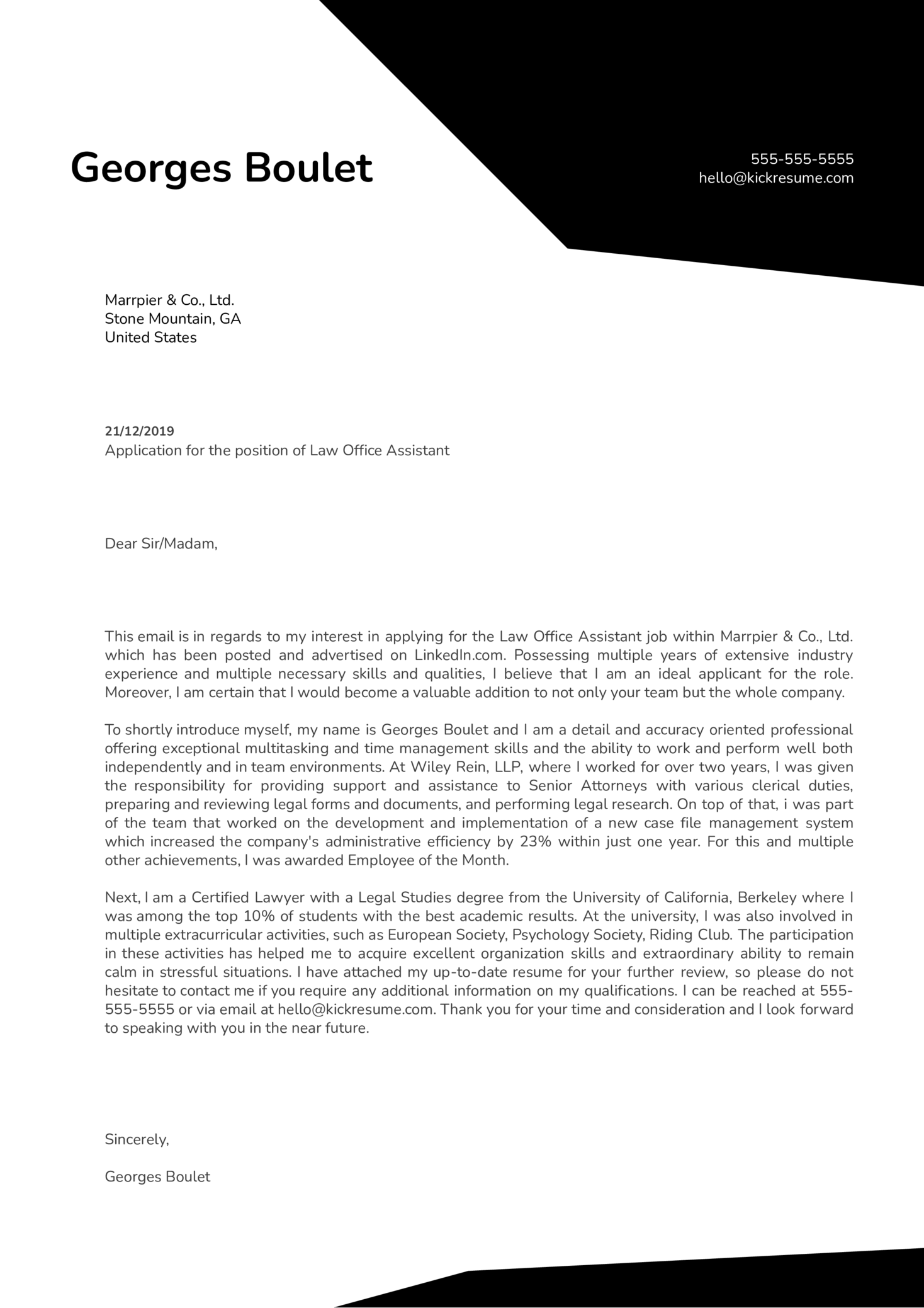 Law Office Assistant Cover Letter Example