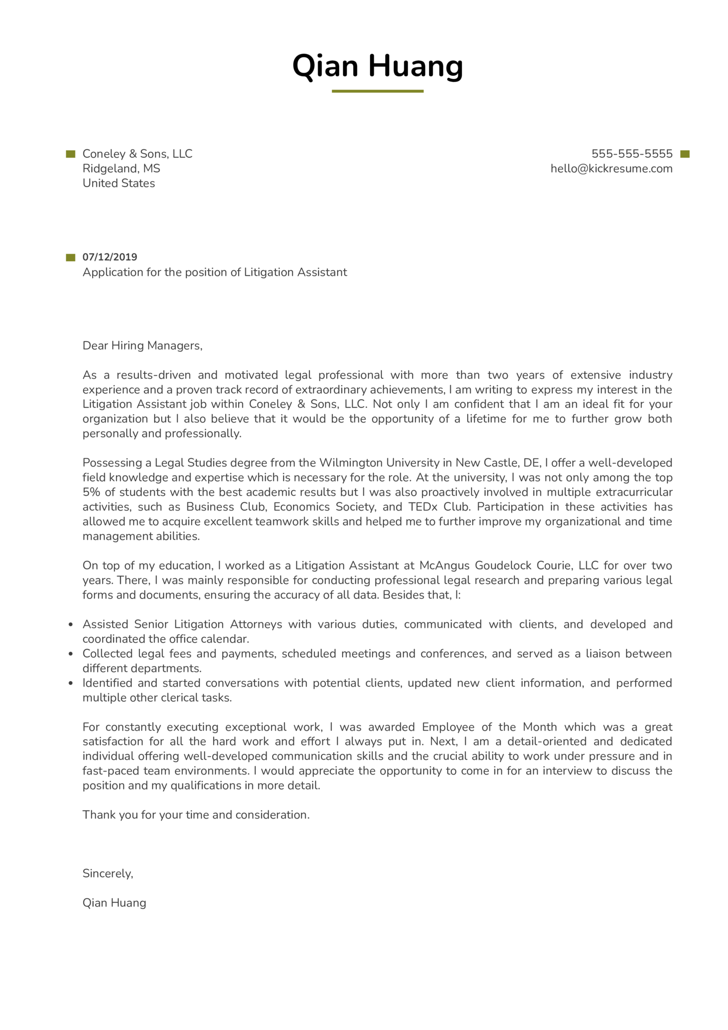 Litigation Assistant Cover Letter Example