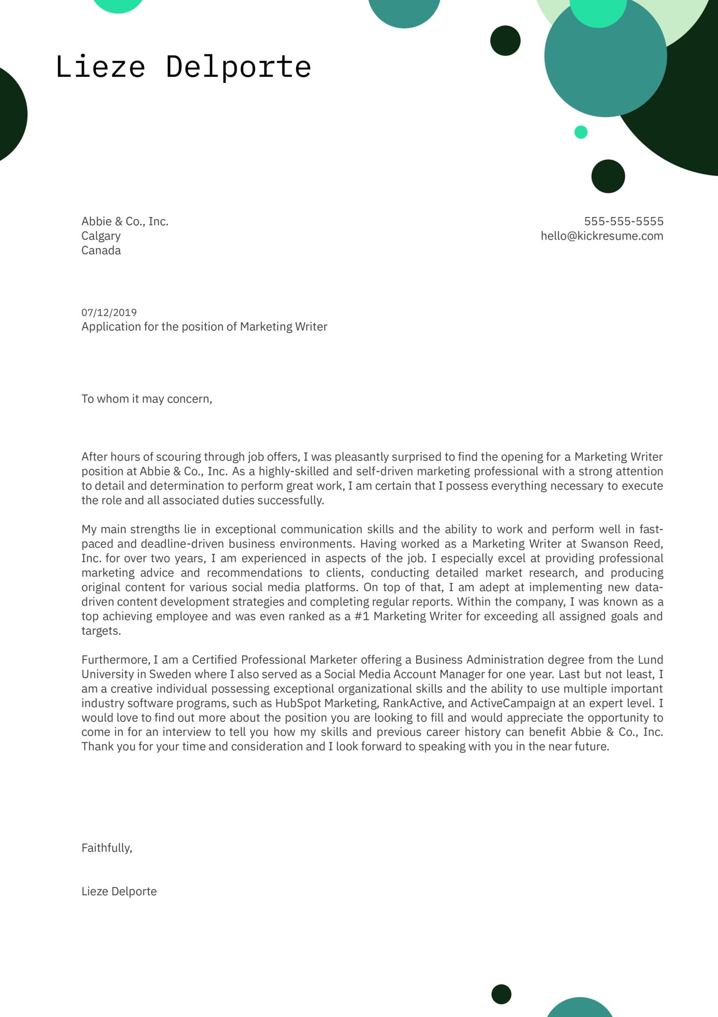Marketing Writer Cover Letter Sample