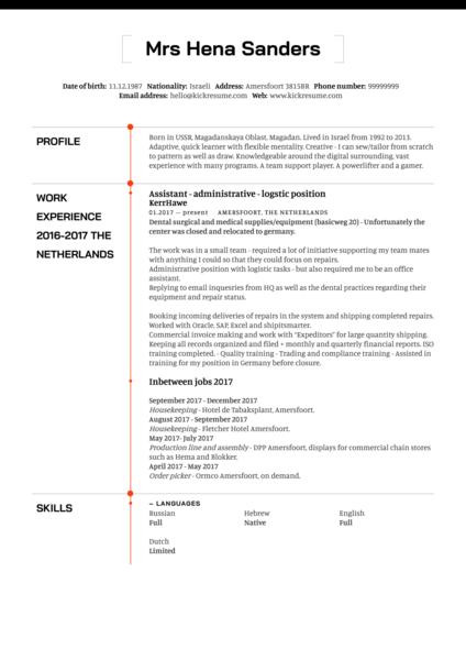 Logistics Assistant CV Example
